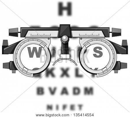 Eyesight test glasses and reading boards illustration
