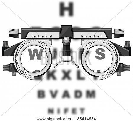 Eyesight test glasses and reading boards illustration