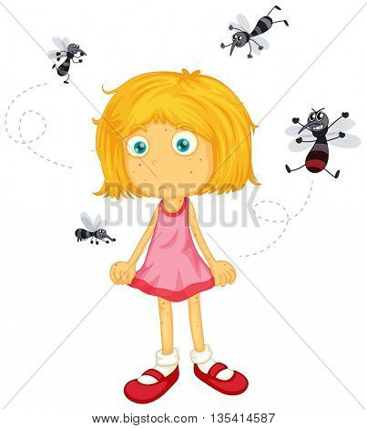 Mosquitos biting little girl illustration