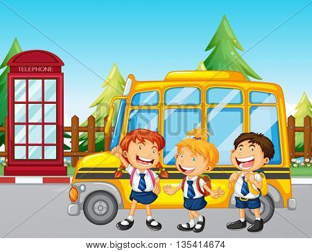 Students standing by the school bus illustration