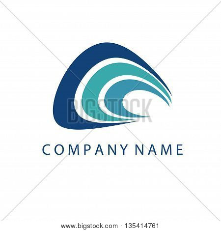 Concept Logo Template With Abstract Wave Symbol In Flat Design .vector Illustration