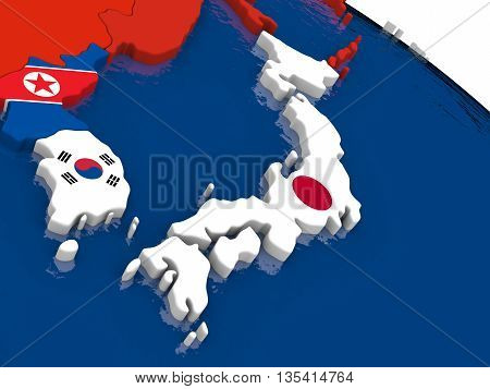 Japan On 3D Map With Flags