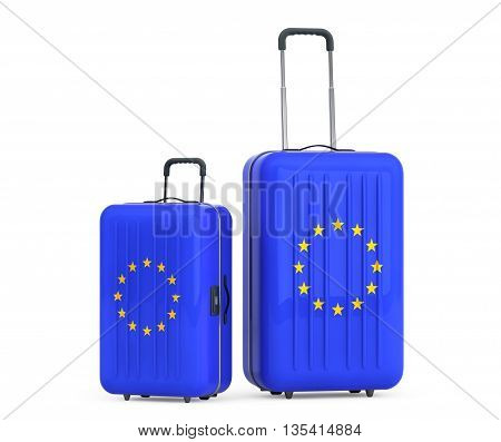 Travel to European Union concep. Suitcases with European Union flag on a white background. 3d Rendering