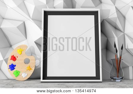 Blank Picture Frame with Paintbrushes and Pallette in front of Low Polygon Decorative Wall extreme closeup. 3d Rendering