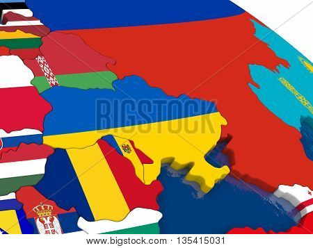 Ukraine On 3D Map With Flags