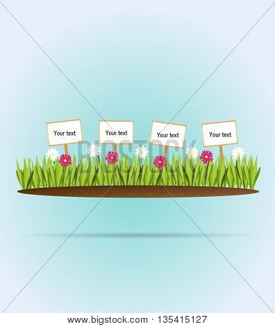 Flower meadow.Vector illustration silhouette vegetation pasture plain earth
