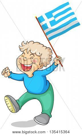 Boy holding flag of Greece illustration