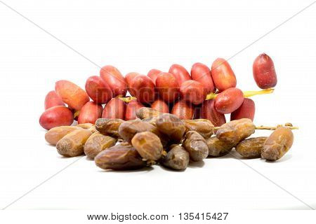 Drying Date palm fruit and Fresh Red Dates Palm Fruit isolated on white background