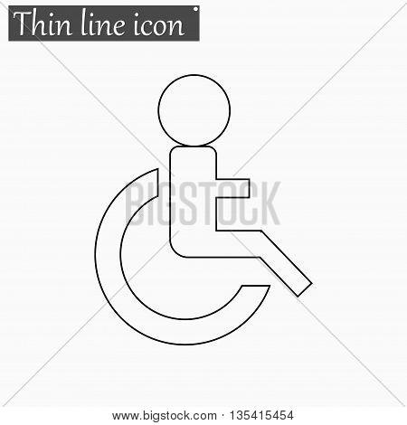 Wheelchair Handicap icon Vector Style Black thin line