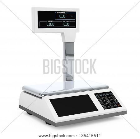 Electronic Scales for weighing Food on a white background. 3d Rendering