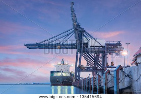 Container Cargo Freight Ship By Crane Bridge