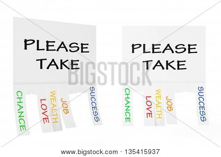 Advertising Papers with Cut Slips and Please Take Sign on a white background. 3d Rendering