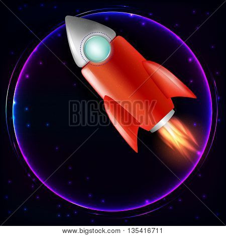 Start Up rocket illustration with rocket .