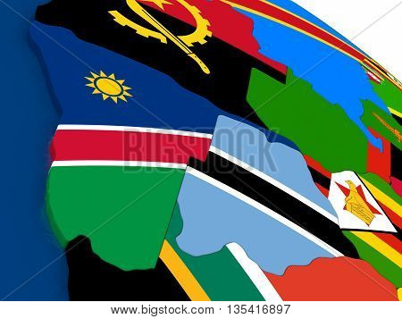 Namibia And Botswana On 3D Map With Flags