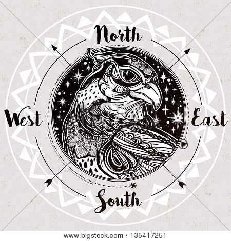 Wind rose compass with bird of prey head. Head of eagle, falcon or hawk in the sky. Isolated Vector illustration. Tattoo art, spirituality, boho, magic symbol. Ethnic, mystic tribal element for you.