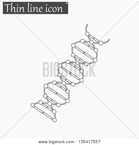 image DNA Drawing icon Vector Style Black thin line