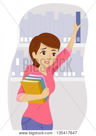 Illustration of a Teenage Girl Distressed Over Her Wet Underarms