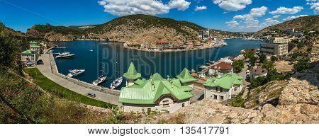 Sevastopol, Russia - June 09, 2016: Balaklava is popular Crimean resort. Bay former submarine base.