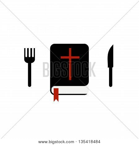 Bible with a knife and fork. Spiritual food