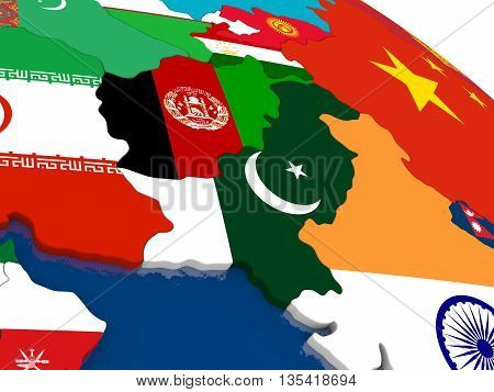 Afghanistan And Pakistan On 3D Map With Flags
