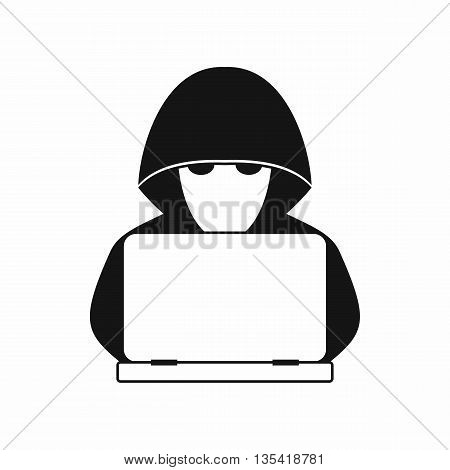 Computer hacker with laptop icon in simple style isolated on white background