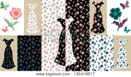 Beautiful collection of floral summer female dresses. Fashion design. Vector illustration.