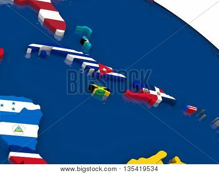 North Caribbean On 3D Map With Flags