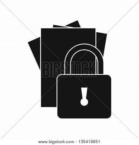 Folders with padlock icon in simple style isolated on white background