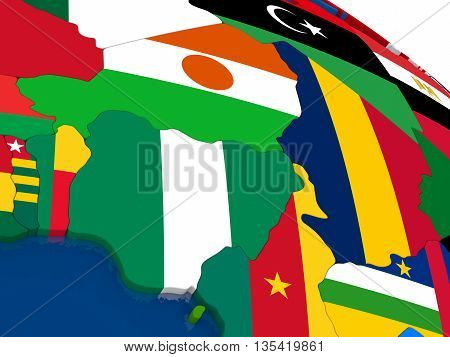 Niger And Nigeria On 3D Map With Flags