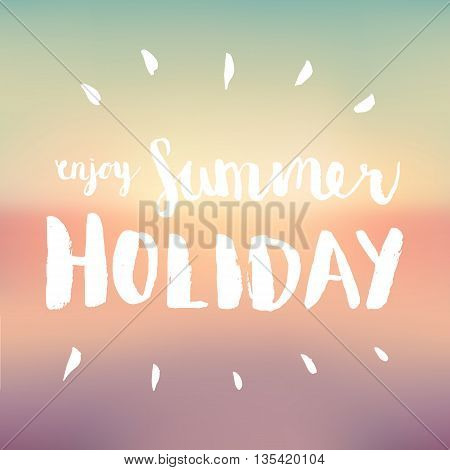 Summer holiday business advertisement hand drawing sign on blurred background. Editable vector business summer sale poster.