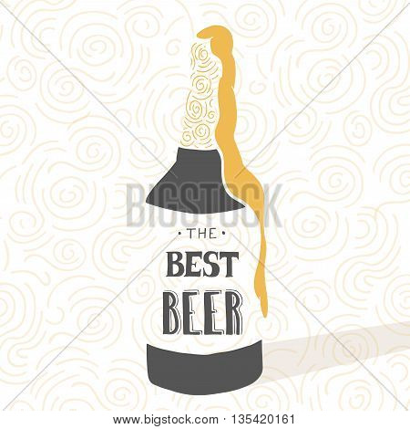 Vintage craft beer brewery design. Vector typography illustration. Hand drawn typography poster