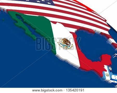 Mexico On 3D Map With Flags