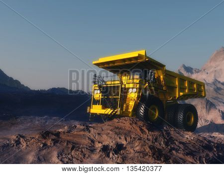 Truck in the quarry.3d render