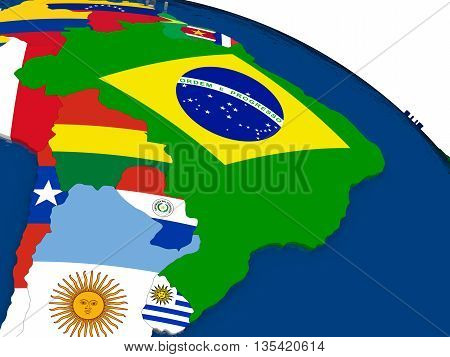 Brazil On 3D Map With Flags