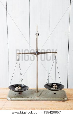 Balance Scales On White Wooden Background