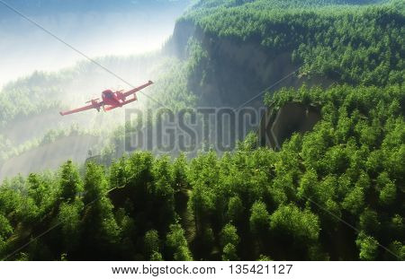 Civilian helicopter on a background an  landscape,3d render