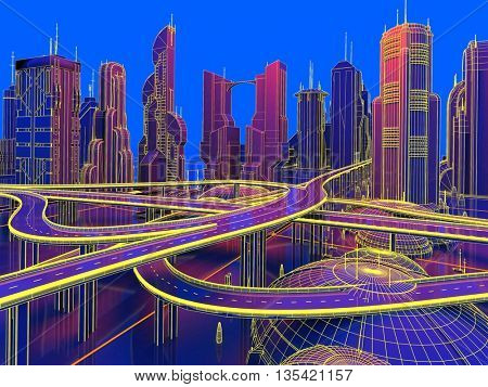 Model and city roads on a blue background.,3d render