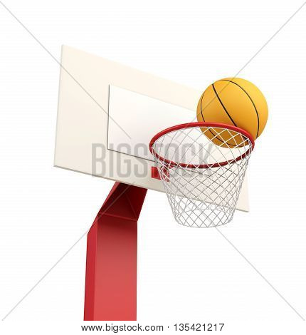 Basketball ball in basket isolated on white background. 3d rendering.