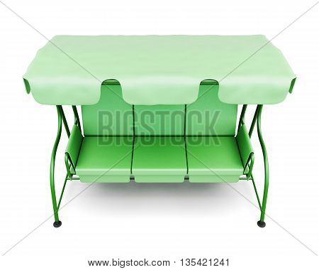 Top view garden swing with canopy isolated on a white background. 3d render image.