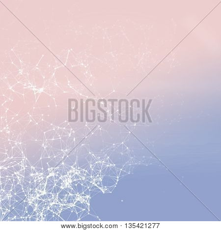 White net connection (dots connected with lines) on 2016 Pantone color mix (Rose Quartz and Serenity) gradient background