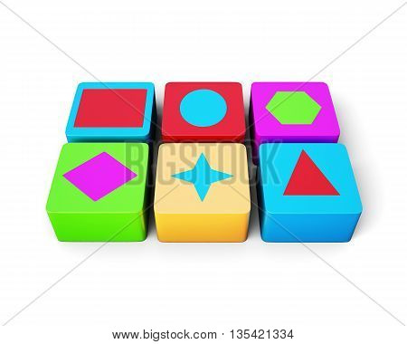 Educational colorful cubes isolated on white background. Different shape. Children's educational toys. 3d rendering