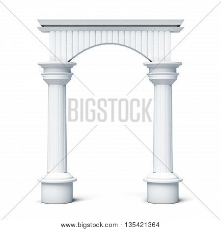 Columns and arch front view isolated on white background. 3d rendering.