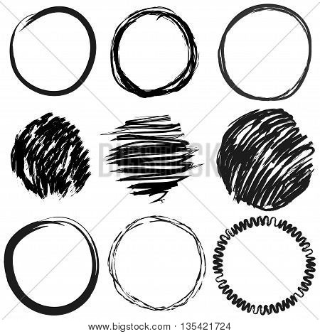 Vector set of grunge circles for frames icons design elements. A set of hand scribbled circles.