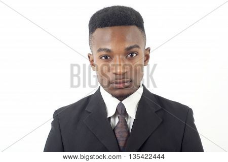 young man wearing suit and tie on white background