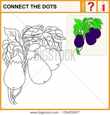 Connect the dots. Eggplant. Flat Design Style. Vector illustration. Cartoon vector Illustration.