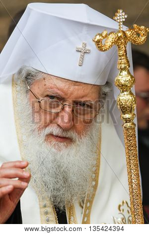 SOFIA BULGARIA - JUNE 18: The Bulgarian patriarch Neophyte during mass on June 18 2016 in Sofia Bulgaria.