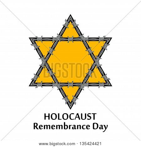 Vector Jewish star and barbed wire. Holocaust remembrance day illustration. Jewish genocide.
