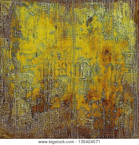Old, grunge background or damaged texture in retro style. With different color patterns: yellow (beige); brown; green; gray; red (orange)