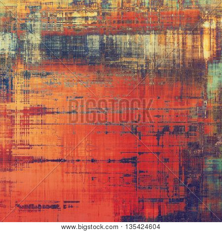 Colorful grunge texture or background with vintage style elements and different color patterns: yellow (beige); brown; blue; red (orange); purple (violet); pink