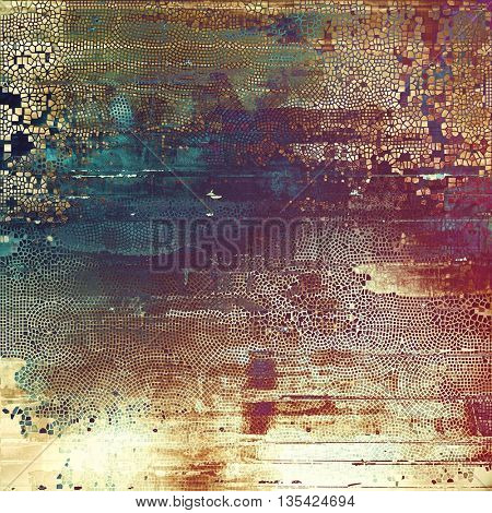 Grunge background with vintage style graphic elements, retro feeling composition and different color patterns: yellow (beige); brown; blue; red (orange); purple (violet); pink